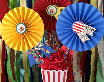 Carnival / Circus Party Centerpiece, 3 Decorated Paper Fans for Dessert Table Candy Buffet Circus Birthday Centerpiece w/ Carnival Tickets