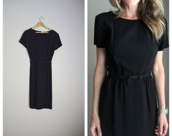 vintage 50s 60s basic black short sleeve black dress formal cocktail with bow -- womens small-- 36-26-38