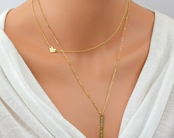 Tiny Gold Heart Necklace, Initial Heart, Delicate Personalized Necklace Gold, Engraved Gold Necklace, Delicate Gold Necklace