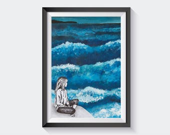 Ocean wave A4 Print, wall art, home decor, painting, decoration, house, mindfulness, blue storm, sea crashing, surf, sea spray, wild nature