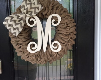 Burlap wreath beige burlap with monogram; every day wreath