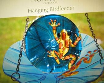 "NorthCrest Hanging Birdfeeder Rain Forest Frog on Clear Blue Leaf 10.5"" x 10"" Free Shipping!"