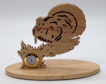 Nature's Majesty Turkey Desk/Shelf Clock - Maple & Walnut
