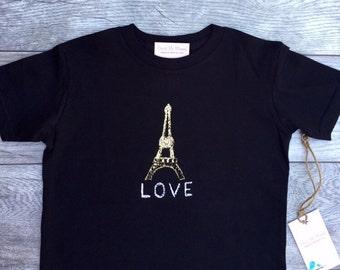 Eiffer Tower - Paris France - Gold - Toddler T-Shirt - Black T-shirt