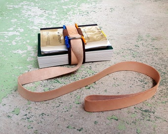 Leather Book Belt with Pen Loops and Nickel Hardware