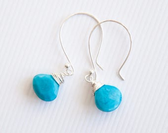 Genuine Turquoise Earrings, Real Turquoise Earrings, Sterling Silver Gift for Women, Blue Turquoise Drops, December Birthstone Gift for Her
