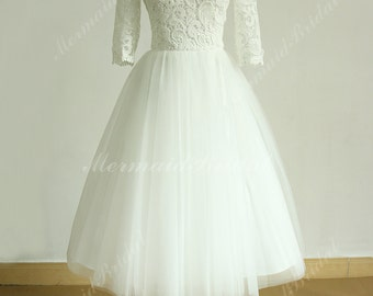Vintage tea length ivory tulle lace wedding dress with mid sleeves