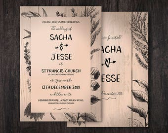 Rustic Peach Wedding Invites, Floral Wedding Invitations, Wood Style, Outdoor Wedding, Barn Wedding, Birthday, Personalised, Customisable