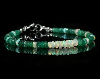Zambian Emerald and Opal Bracelet, Genuine Green Emerald & AAA Ethiopian Opal Jewelry, Sterling Silver, Gemstone Bar, May October Birthstone