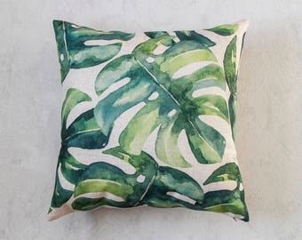 Monstera Leaf Pillow Cover, Tropical Leaf Plant Pillow Cover, Green Throw Pillow, Decorative Pillow Cover, Cushion Cover