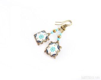 Scandinavian pattern tile earrings. Nordic flower blue/ocre . Pink and blue nordic flower.