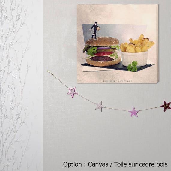 Canvas Gallery Wrap, Wall Art Canvas, hamburger Decor, Kitchen Decor, restaurant decor, Decor for fast food, Food Photography, kitchen decor