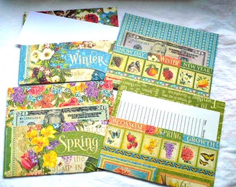 Cash Envelope System, Envelopes, Winter, Spring, Nature, Bird Lover Gift, Card Holder, Bill Tracker, NotePad, 3.25 x 7 Inches, Hand Stitched