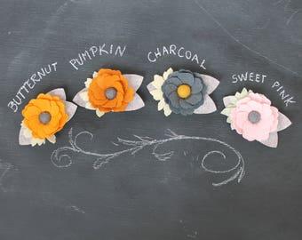 Felt Flower Headband, Felt flower hair clip, Felt Flower Brooch, baby headband, Floral headband, photo prop, floral brooch, felt flowers