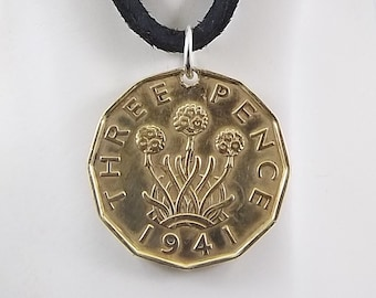 England Coin Necklace, 3 Pence, Coin Pendant, Three Pence, Flower Coin, Leather Cord, Mens Necklace, Womens Necklace, 1941