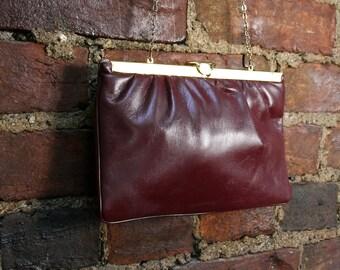 Vintage Vegan Leather Shoulder Bag Convertible Clutch Purse 70s 80s Ox Blood Brown Cocktail Handbag
