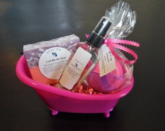 Savon Artisanal Aromatherapy Gift Basket, Customized Gift Idea For Her, Bath Soap Bombs Basket For Mom Sister Daughter, Perfume Spray