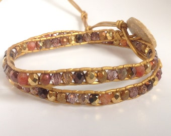 Glamorous golden bohemian leather double wrap bracelet