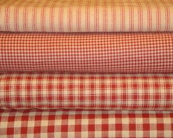 Red Homespun Material Fat Quarter Bundle Of 4