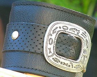 The Maverick Leather Wrist Wallet Cuff with Secret Pocket -- Limited Edition No. 6 -- Perforated Black
