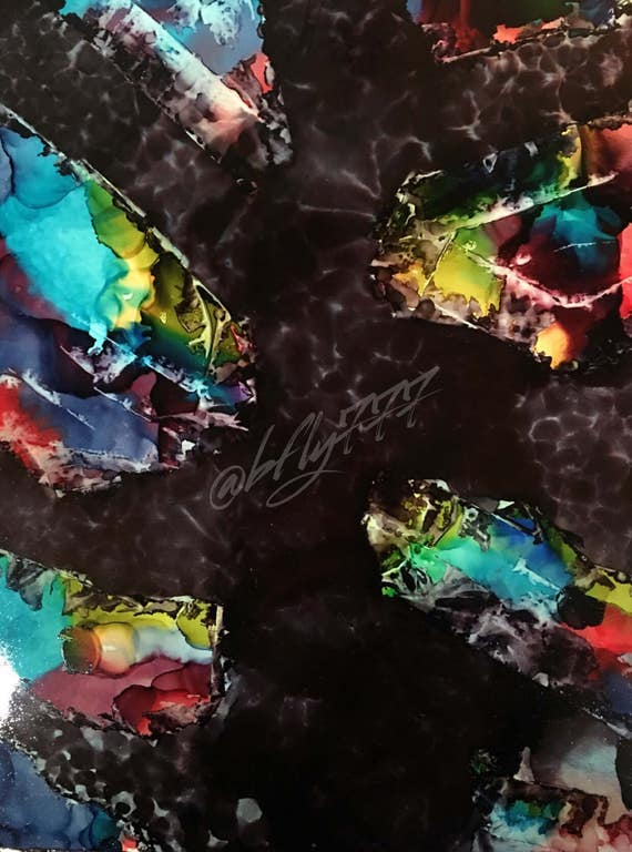"""Abstract Alcohol Ink Original: """"Midnight Jewels"""" (11"""" X 14"""")"""