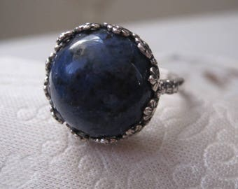 Dumorterite and Sterling Silver Adjustable Ring