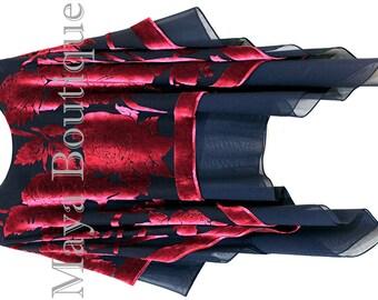 Maya Matazaro Tiered Poncho Top Silk Burnout Velvet & Chiffon Red Black