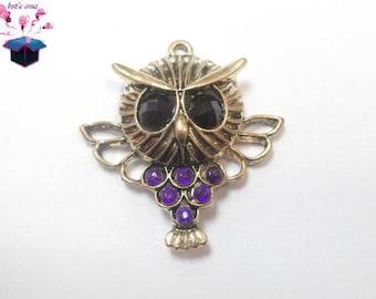 bronze color 1 pendant with Rhinestone purple size 4 cm x 3.5 cm