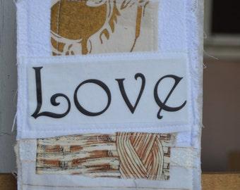 White  Doorknob Hanging Art Quilt - Love