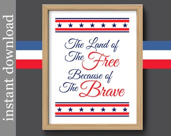 Military Printable, military gift, patriotic decor, Veteran gift, retired military gift, gift for soldier, land of the free, red white blue