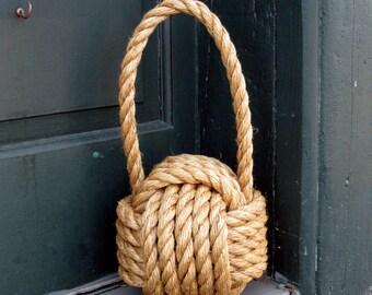 """Large Nautical Manila Monkey Fist Door Stop 5/8"""" Manila Rope"""