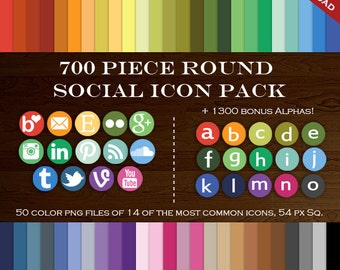 HUGE 700 Social Media Icon Package - Blog Button Icons - Transparent Round Network Buttons Instagram Icon, Twitter Icon, Etsy Icon Email Rss