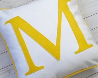 Yellow Monogram Pillow Custom Cover - Letter Cushion - Personalized Initial Pillowcase - Decorative Throw Pillow Sham