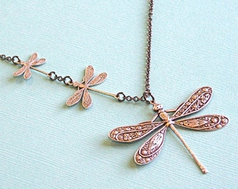 Silver Dragonfly  Jewelry - Dragonfly Necklace, Nature Jewelry