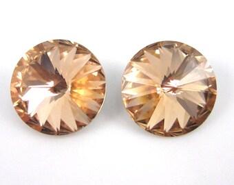 2 Swarovski Crystal 12mm Light Peach Rivolis
