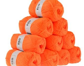 10 x 50g knitted Yarn eko fil, #271 Orange