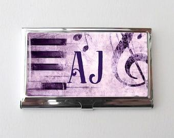 Personalized Business Card Holder, Music Teacher Gift, Custom Business Card Case