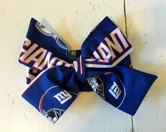 TIED,New York Headwrap, Giants Headwrap, Football Headwrap, Baby Headband,Toddler Bows, Big Bow, Baby Girl Headwrap, Toddler Headwrap