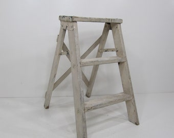 Vintage Step Ladder, Wood Three Step Ladder, Small Step Stool, Wooden Folding Step Stool, Plant Stand, Rustic Ladder, Farmhouse Stool