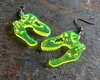 T-rex skull dinosaur earrings, laser cut acrylic (Pierced or Clip-on)