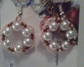 Beaded earrings, cream and brown earrings, drop earrings, dangle earrings