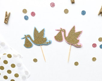 Baby Shower Cupcake Toppers (Set of 12)   Glittery Stork Cupcake Toppers   Gender Reveal Party   Baby Shower Decor   Welcome Baby Toppers