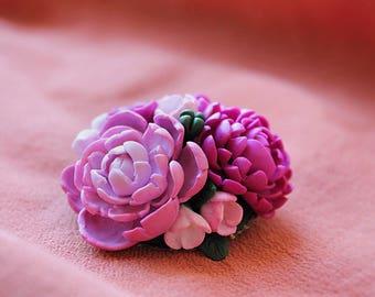 "Brooch ""Bouquet with peony"" , peony brooch"