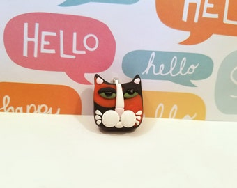Cute Cat Jewelry, Calico Cat Pendant or Necklace, Kitty Face, Cat Lover Gift, handmade polymer clay