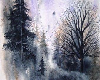 WATERCOLOR TREES Landscape Original Fine Art watercolor giclee print, 11 x 14.