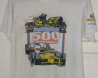 INDIANAPOLIS SPEEDWAY 500 Vintage 80s soft thin T shirt. Large size