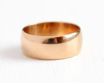 Sale - Antique Wedding Band - 14k Rosy Yellow Gold Ring - Sz 5 1/2 Victorian Edwardian Fine Classic Minimalist Cigar Bridal Stacking Jewelry