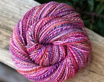 Handspun yarn, purple, pink, rose, white, blue and green tones, 100% merino wool, malabrigo wool, worsted weight,