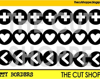 The Bitty Borders cut file consists of 3 border designs, that can be used for your scrapbooking and papercrafting projects.