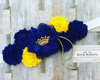 Prince Maternity Sash, Royal Blue Maternity Sash, Blue and yellow Maternity sash, Mom to be sash for baby shower, Prince baby shower